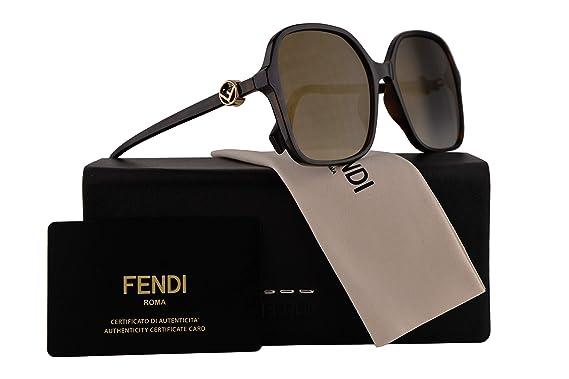 0af20f6aef Fendi FF0287 S Sunglasses Dark Havana w Grey Gradient Gold Mirror Lens 58mm  086FQ FF0287S FF 0287S FF 0287 S  Amazon.co.uk  Clothing