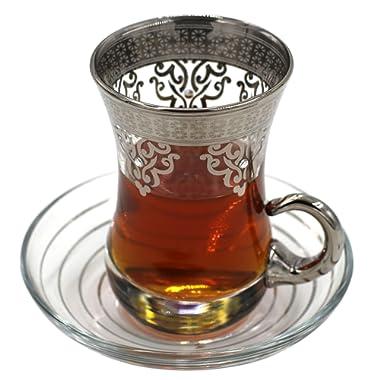 Turkish Arabic Tea Glasses with Saucers Set of 6 - Ottoman (Platinum)