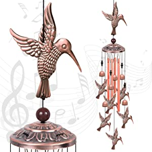 Solawindchime Outdoor Hummingbird Wind Chimes, Hummingbird Memorial Wind Chimes, Gift Wind Chime, Hummingbird Wind Bell Gifts for Women, for Home, Garden, Indoor, Outdoor Decoration, Garden Wind Chime