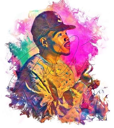 59ec600eafc3a Amazon.com  Chance The Rapper Colourful Ink Pop art Hand Drawn ...