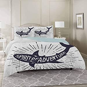 YUAZHOQI Shark 100% Washed Microfiber Duvet Cover Set California King, Spirit of Adventure Quote Over A Fish Body Wildlife Motivational Grunge Des 3 Piece Luxury Soft Bedding Set with Zipper Closure