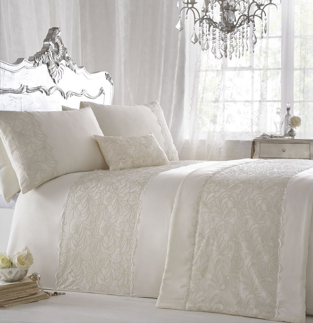 ZIGGUO 3-PC Luxury Duvet Cover Set - Embroidered Queen Size Ivory Color