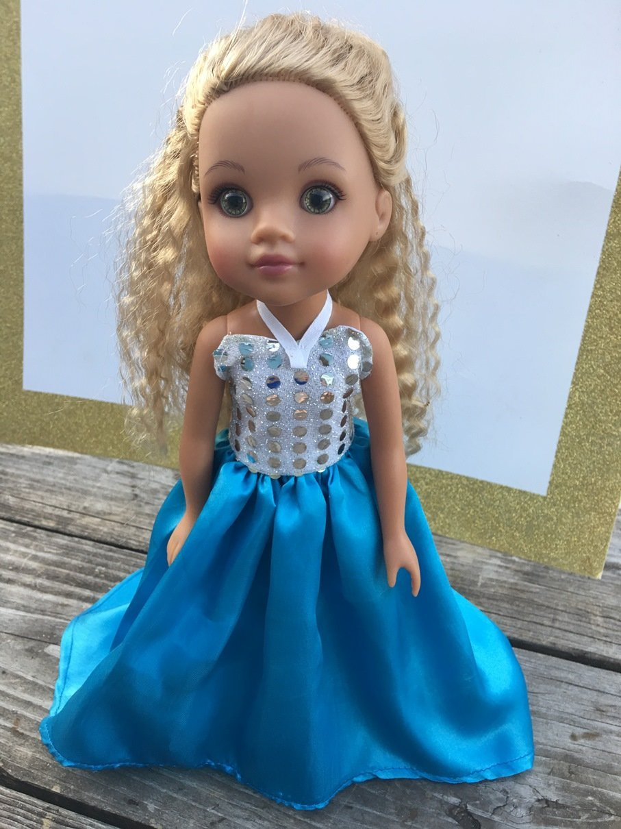 Fits 14.5 inch Wellie Wishers Doll Clothes or Hearts for Hearts Doll Party Prom Princess or Fairy Dress Halloween Costume NO DOLL