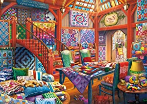 Brataa Quilt Shop Cats Jigsaw Puzzle 1000 Piece for Adult Kids, Psychedelic Poker Game Challenging Puzzles Intellective Educational Decompression DIY Toy Promotes Hand-Eye Coordination Home Decor