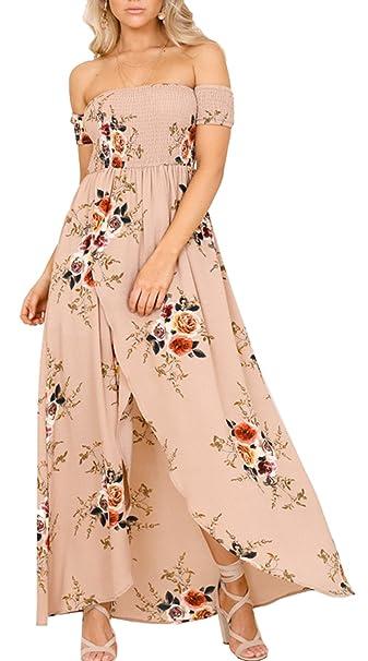 f2e3c17cabab Shineya Women s Floral Boho Off The Shoulder Maxi Shirred Beach Party Dress  Khaki S