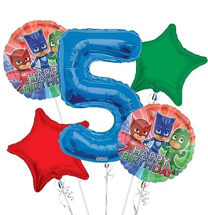 PJ Masks Balloon Bouquet 5th Birthday 5 pcs - Party Supplies
