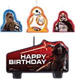 Amscan Star Wars Episode Vll Birthday Candle (Set of 4), Multicolor