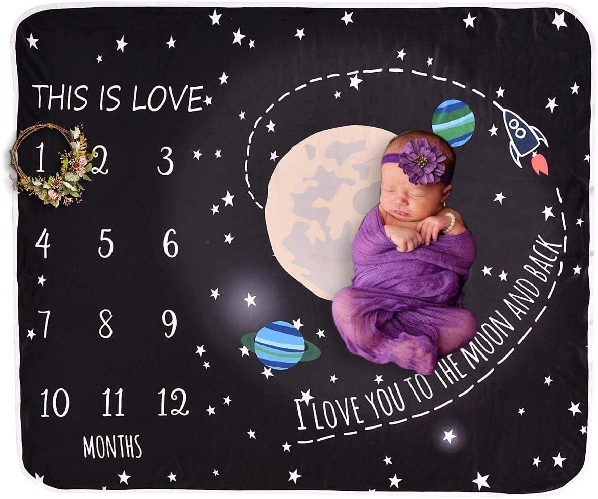 Josopa beb/é Manta mensual reci/én Nacido Manta hito mensual Swaddle Wrap Accesorios de fotograf/ía Regalo de Ducha para ni/ños o ni/ñas