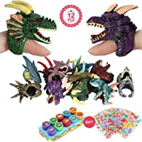 VAMEI 34pcs Finger Toys Dragon Pet Puppet With Dinosaur Self Inking Stamps Stickers for Kids Boys Girls Dinosaur Party Favors Decoration Supplies