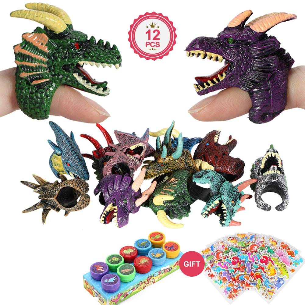 12pcs Giocattolo Dito Drago Anelli burattino con Dinosauro Auto inchiostrazione francobolli Adesivi per Bambini Ragazzi Ragazze Regalo bomboniere Regalo VAMEI Drago Giocattolo