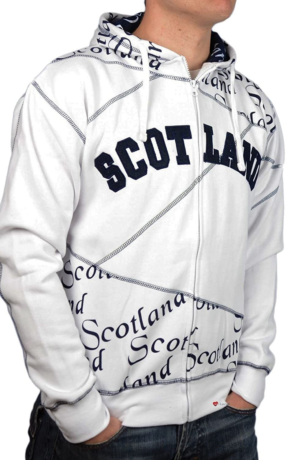Zip Top Scotland Scroll Navy Lettering Fashion Hoodie Top Weiß X-Large