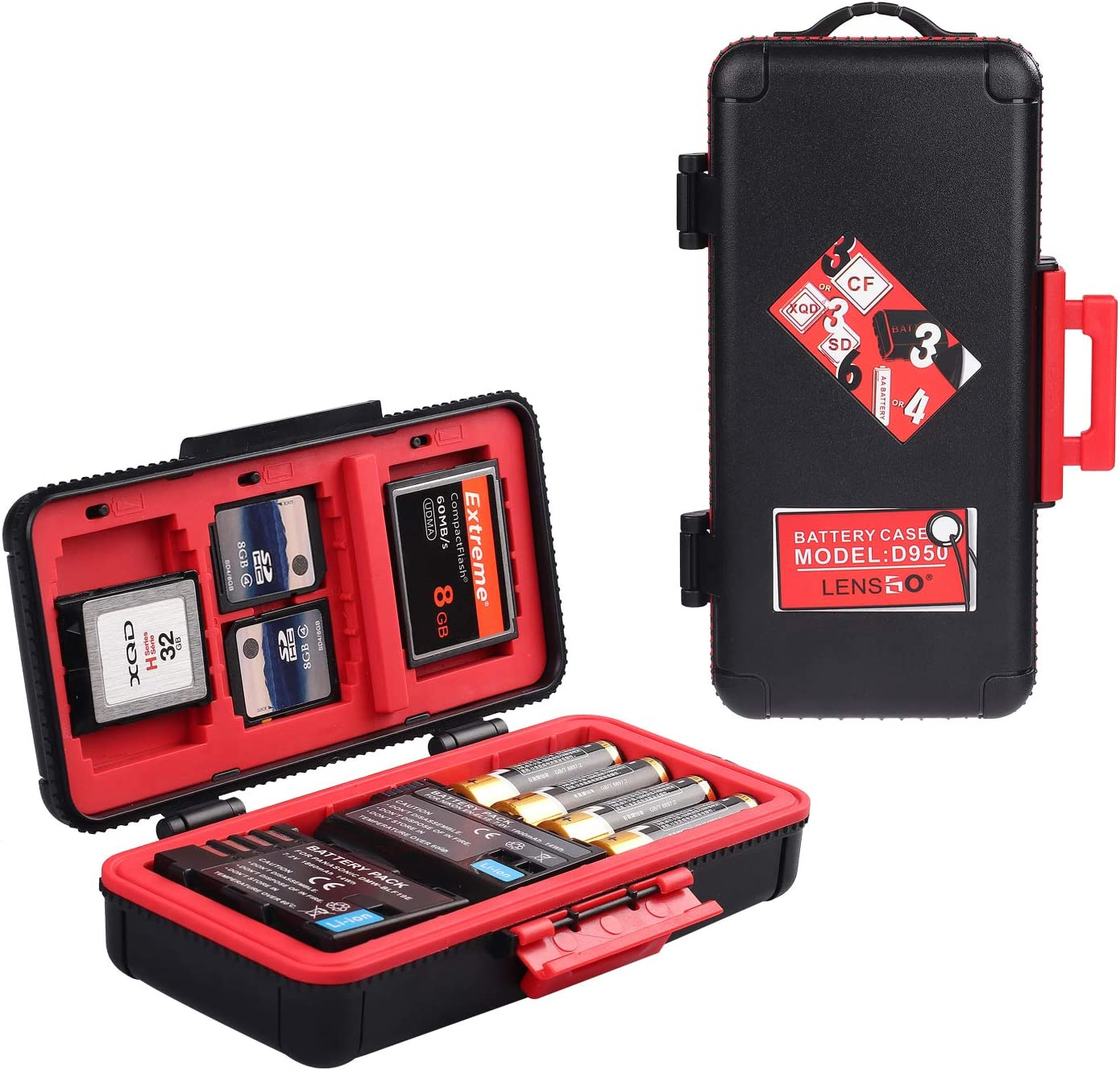 Professional Memory Card Case Water-Resistant Anti-Shock SD XQD CF Compact Flash Camera Battery AA   Media Storage Holder Organizer Photography ...