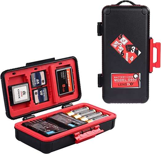 Professional Memory Card Case Water-Resistant Anti-Shock SD XQD CF Compact Flash Camera Battery AA | Media Storage Holder Organizer Photography ...