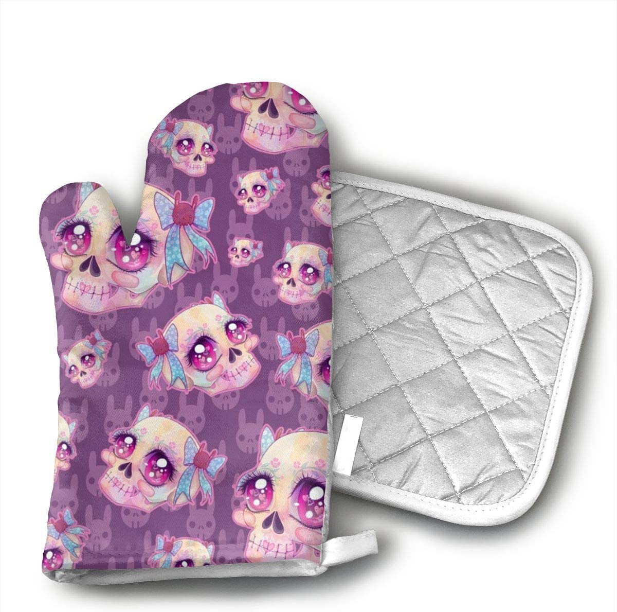 TRENDCAT Cute Skulls Oven Mitts and Potholders (2-Piece Sets) - Extra Long Professional Heat Resistant Pot Holder & Baking Gloves - Food Safe