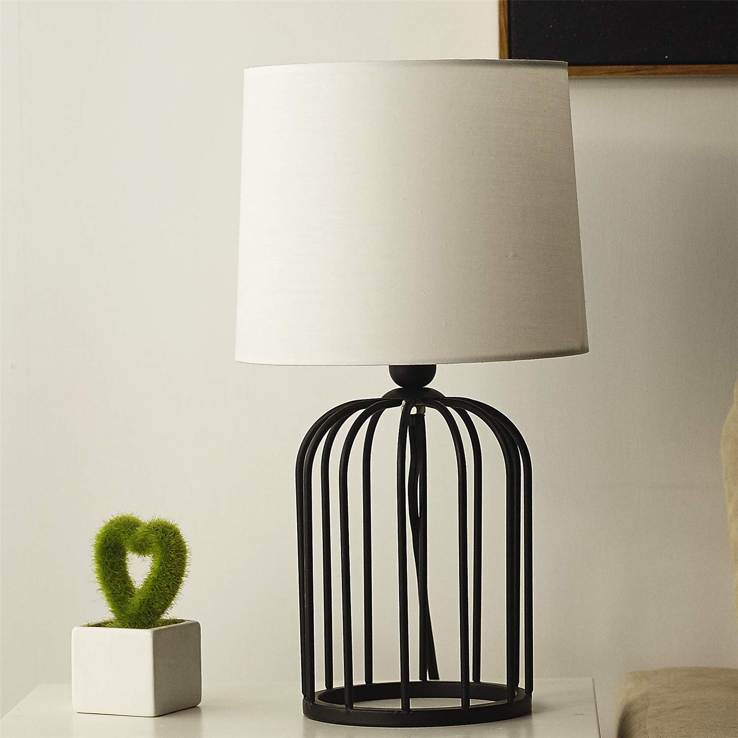 Bedside Lamp, Morden Minimalist Black Metal Bird Cage with White Fabric Table Lamp, Hollow out Base with White Shade