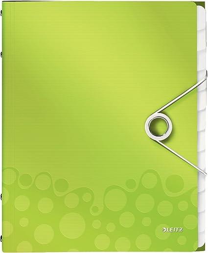 WOW Polipropilene Formato A4 12 scomparti indicizzati Verde metallizzato Chiusura a elastico Leitz 46340064 Libro monitore Capacit/à 200 fogli A4