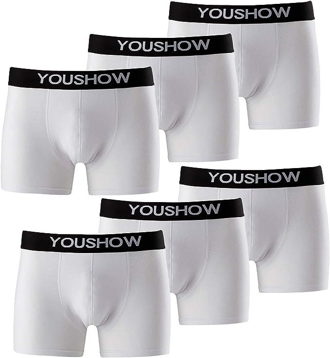 YouShow Bóxer para Hombre Pack de 6 Calzoncillos Ropa Interior para Hombre Gallumbos Negro: Amazon.es: Ropa y accesorios