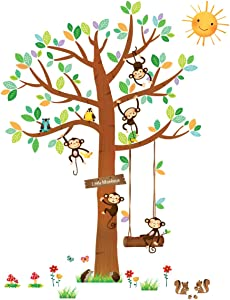 DECOWALL DA-1401 5 Little Monkeys Tree Kids Wall Decals Wall Stickers Peel and Stick Removable Wall Stickers for Kids Nursery Bedroom Living Room/