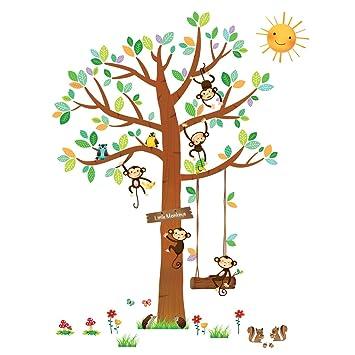 Decowall DA-1401 5 Affen Groß Baum Waldtiere Tiere Wandtattoo ...