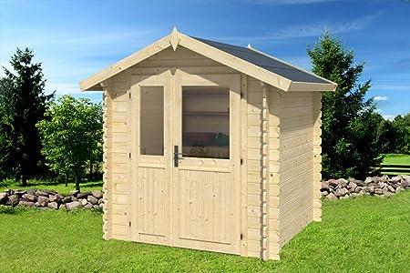 Gartenhaus G92-28 mm Blockbohlenhaus, Grundfläche: 3, 60 m2, Satteldach: Amazon.es: Bricolaje y herramientas
