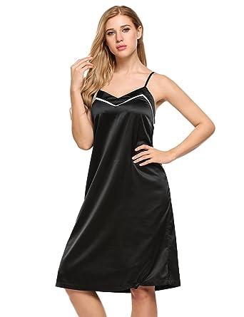 99415ec534 Ekouaer Sexy Lingerie Women s Nightgown V Neck Satin Chemise Slip Sleepwear  (Style 1-Black