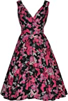 Womens 40's 50's Vintage Wrap Style Black Pink Butterfly Flared Party Cocktail Tea Dress