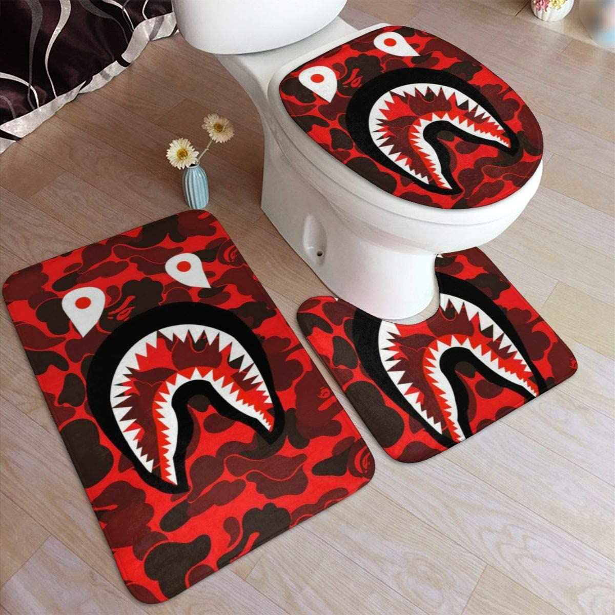 DISINIBITA Bath Mat Bape Blood Shark Pattern Fashion Bathroom Carpet Rug Non Slip 3 Piece Bathroom Mat Set