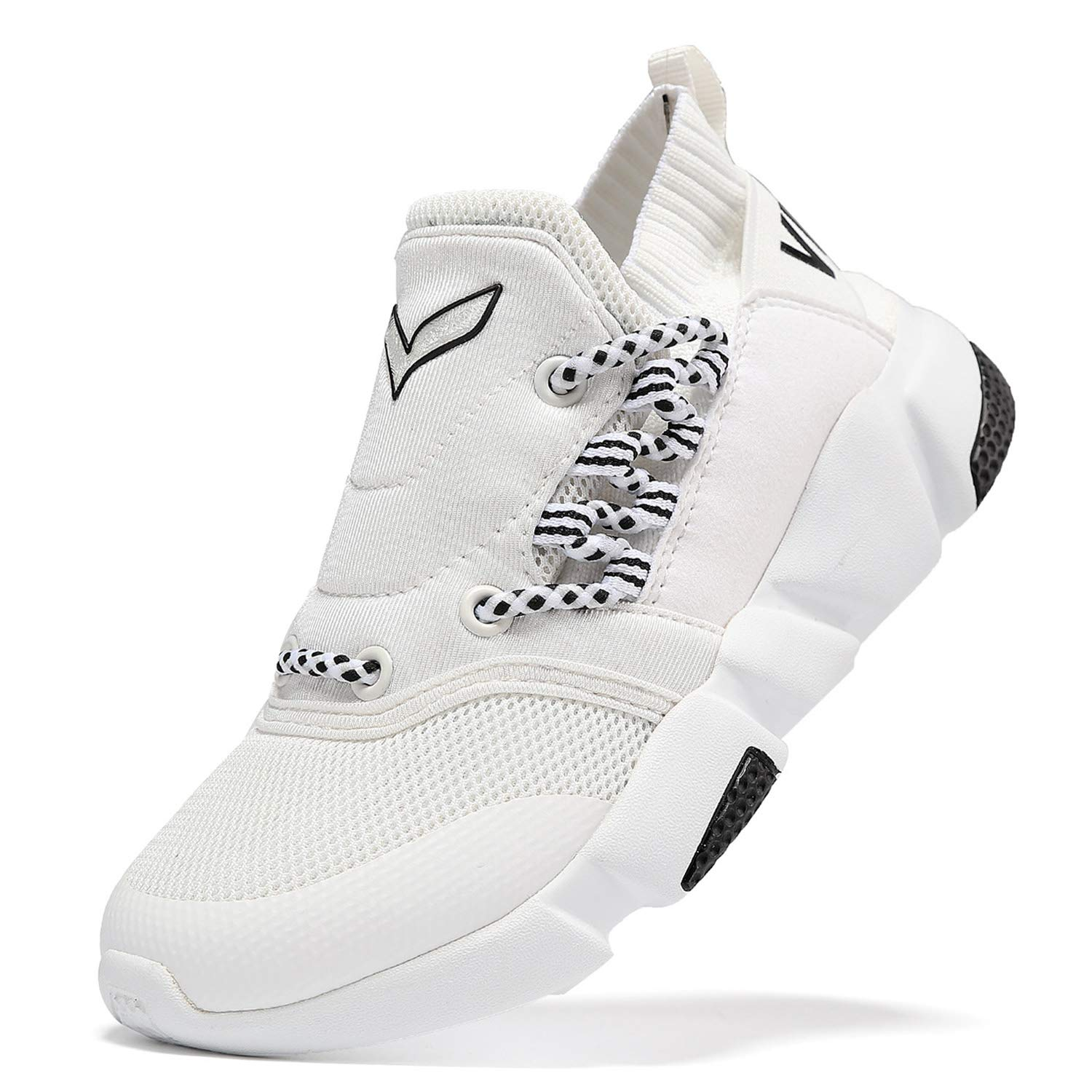 WETIKE Kids Shoes Boys Girls Sneakers High Top Lightweight Sports Shoes Slip On Running Walking School Casual Tennis Wrestling Trainer Shoes Soft Knit Mesh White Size 1.5 by WETIKE