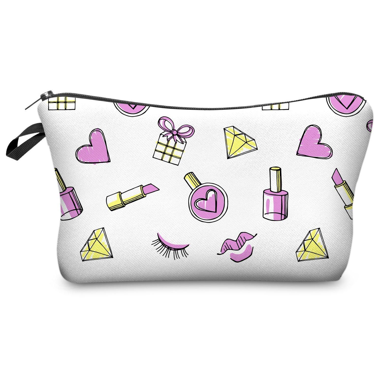 FRINGOO® Women's Make Up Bag Small Cosmetic Pouch Funny Cute Wash Bag Printed Toiletry Beauty Organiser Pencil Case Unicorn (L23 x H14 x W8 cm, Avocado Dots - Make Up Bag)
