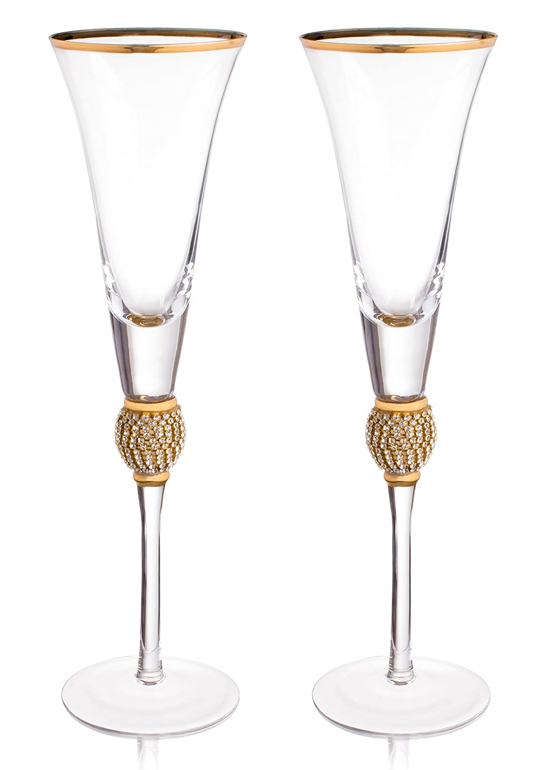 """Trinkware Wedding Champagne Flutes - Rhinestone""""DIAMOND"""" Studded Toasting Glasses With Gold Rim - Long Stem, 7oz, 11-inches Tall – Elegant Glassware And Stemware - Set of 2 For Bride And Groom"""