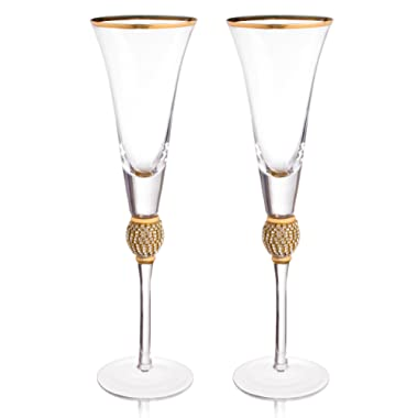 Trinkware Wedding Champagne Flutes - Rhinestone DIAMOND  Studded Toasting Glasses With Gold Rim - Long Stem, 7oz, 11-inches Tall – Elegant Glassware And Stemware - Set of 2 For Bride And Groom