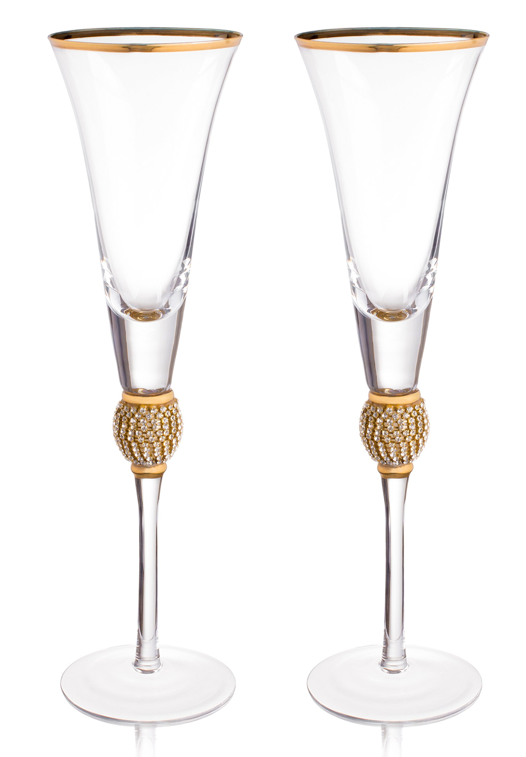 Trinkware Wedding Champagne Flutes - Rhinestone''DIAMOND'' Studded Toasting Glasses With Gold Rim - Long Stem, 7oz, 11-inches Tall – Elegant Glassware And Stemware - Set of 2 For Bride And Groom