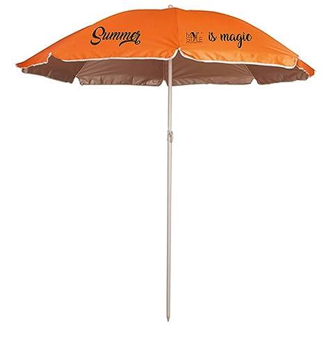 Ombrellone Piccolo Da Spiaggia.My Custom Style Ombrellone Da Spiaggia Portatile Color Arancio In Poliestere Con Protezione Uv Con Asta E Struttura In Metallo Per Piscina Mare O