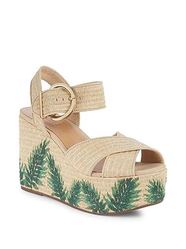794389f3ecb9 SCHUTZ Feray Raffia Natural Nude Green Floral Platform Wedge Woven Sandals  (5)