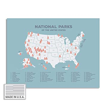USA National Parks Map - Plan Family Adventures Coast to Coast and Pin  Favorite National Parks - Travel Wall Decor for Weddings, Graduation, ...