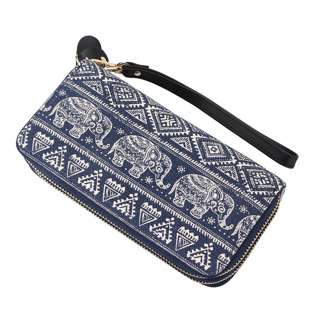 Women Elephant Wallet Canvas Zipper Purse Wristlets Clutch Phone Card Holder Handbag (One size, Blue)