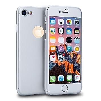 MajoCase Funda iPhone 6 6s 360 Grados Integral Para Ambas Caras + Protector de Pantalla de Vidrio Templado,[ 360 ° ] [ Plata ] Case/Cover/Carcasa ...