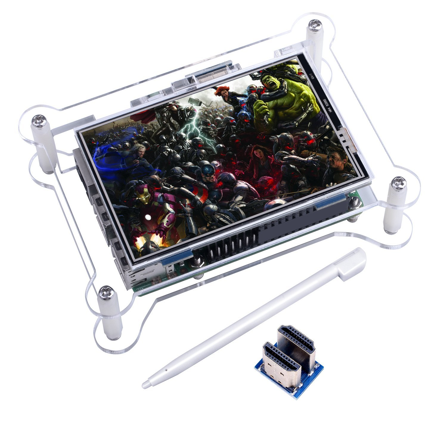 TFT Touch Screen, Kuman 3.5 Inch TFT LCD Display Monitor with Protective Case Support all Raspberry PI System, Video Movie Play, Arcade Game, HDMI Audio Input