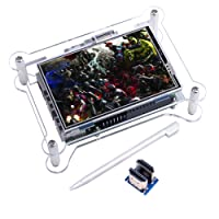 TFT Touch Screen, Kuman 3.5 Inch TFT LCD Display Monitor with Protective Case Support all Raspberry PI System, Video Movie Play, Arcade Game, HDMI Audio Input (3.5HDMI LCD + Case) (Touch Screen+Case)
