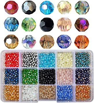 60 CLEAR ROUND FACETED  GLASS BEADS 4mm