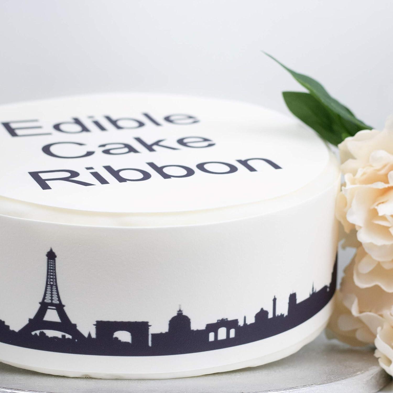 Sprinkles /& Toppers Ltd Paris Skyline Edible Icing Cake Ribbon Side Strips