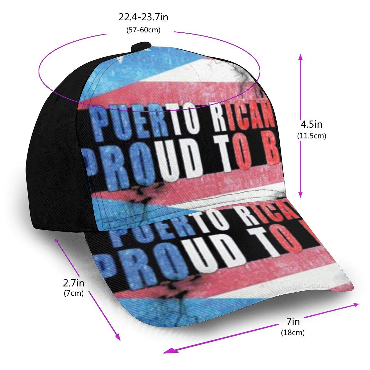 Proud to Be Puerto Rican Summer Baseball Caps for Men and Women with Adjustable Snapback Strap