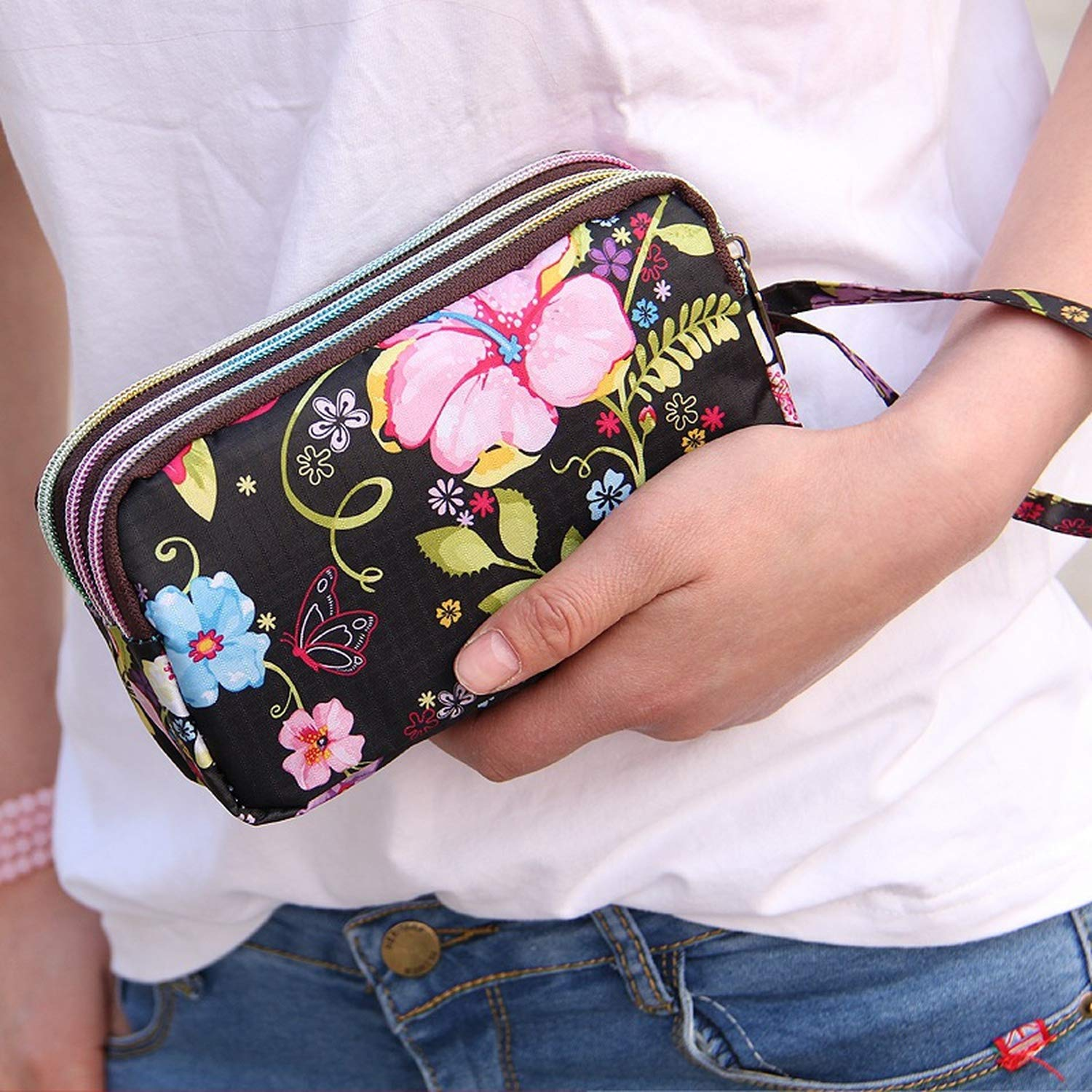 Canvas 3 Zippers Large Capacity Day Clutch Coin Purse for ...