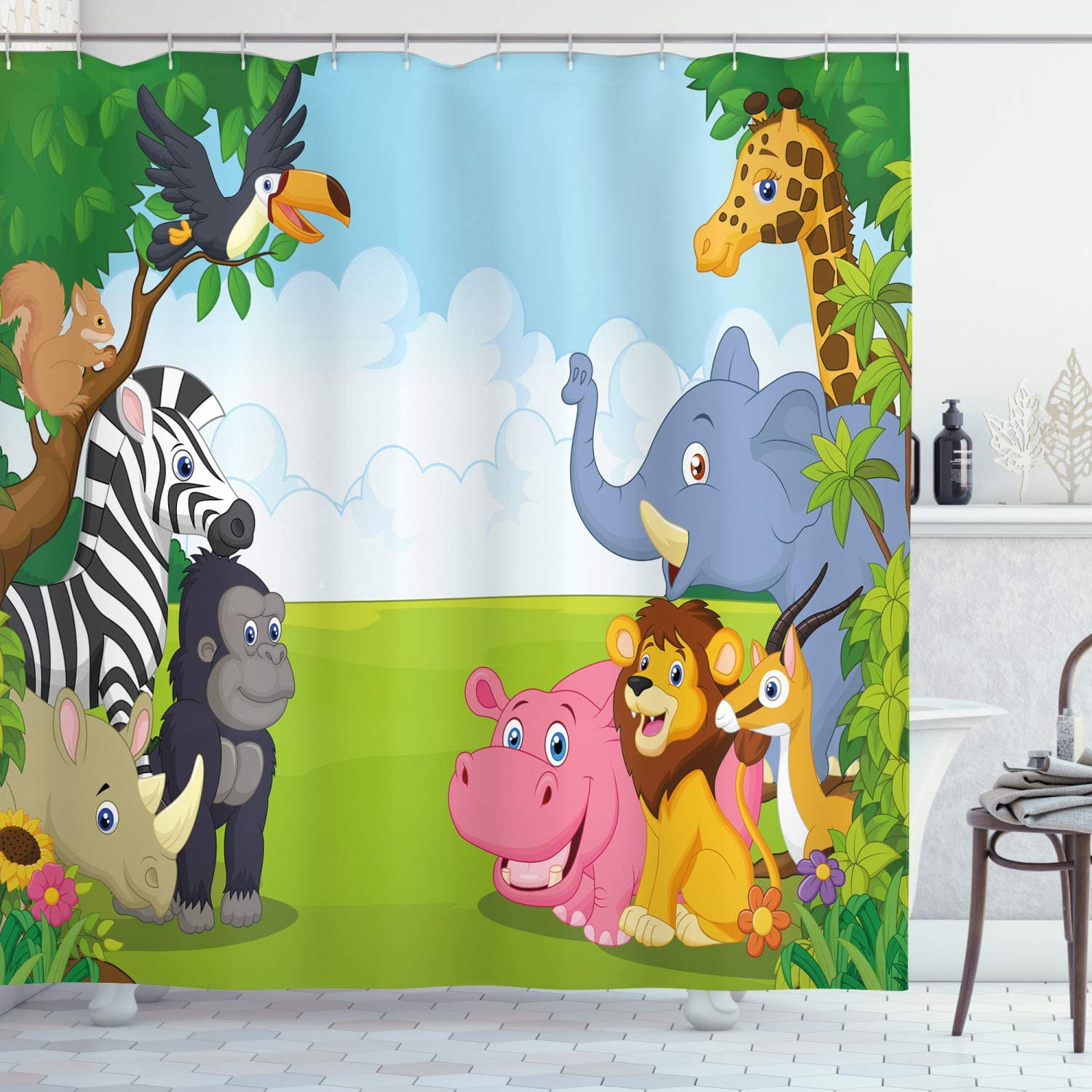 "Ambesonne Animal Shower Curtain, Kids Design Children Nursery Room Safari Themed Cartoon Animals Image Artwork Print, Cloth Fabric Bathroom Decor Set with Hooks, 75"" Long, Blue Green"