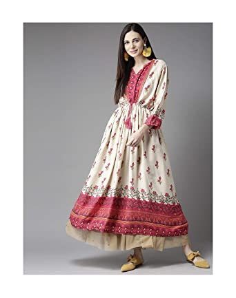 d8805f578f5d Beige Women s Designer Anarkali Kurta + FREE Leggings Ready To Wear (Small)