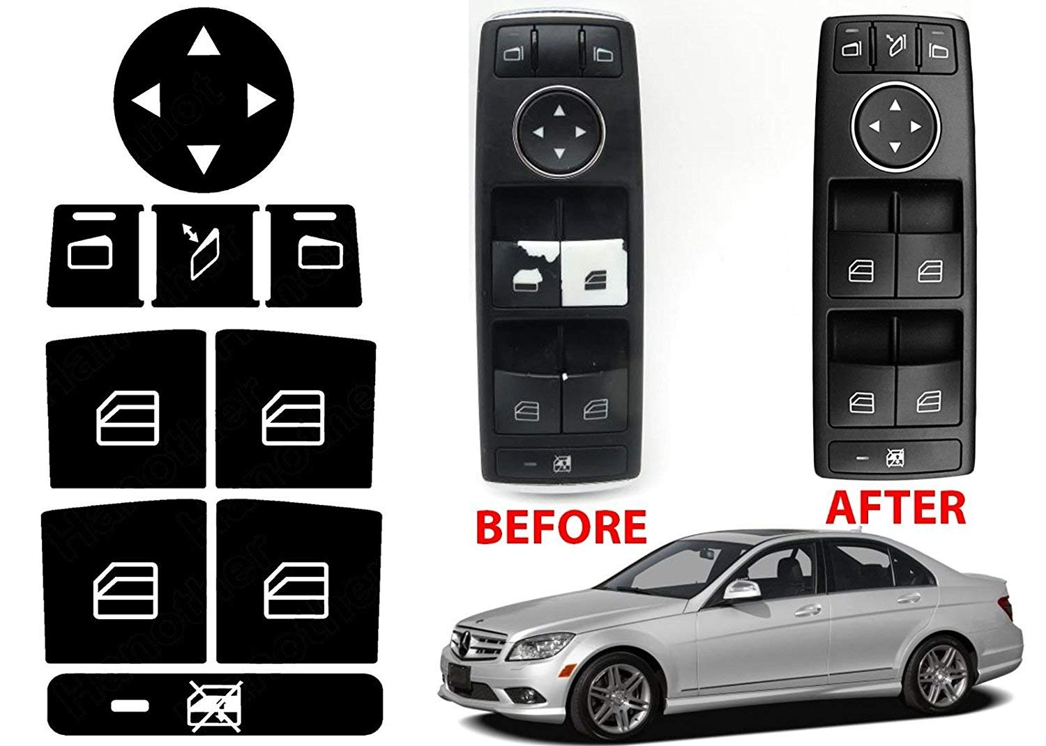 Window Switch Button Repair Stickers For 2008 2014 Mercedes Benz Cls 550 Wide Kit W204 C300 C350 Automotive