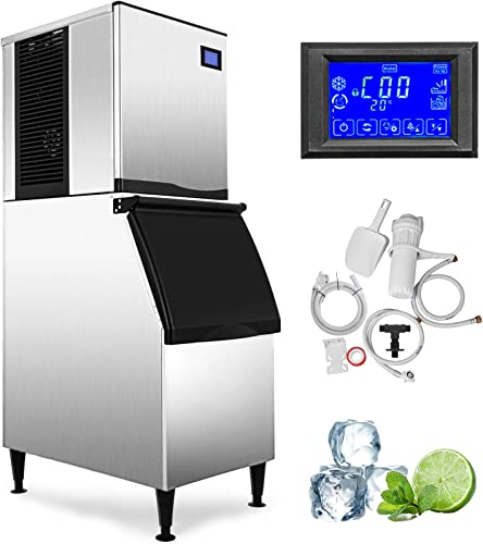 VEVOR-110V-Commercial-Ice-Maker-550LBS/24H-with-350LBS-Bin