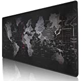 "Gaming Mouse Pad Extended Mouse Map Mat (World Map 31.5""x11.8""inch,3mm),Nonslip Base, Thick, Comfy, Waterproof and Foldable Mat for Desktop, Computer, Laptop, Keyboard, Consoles, Black"
