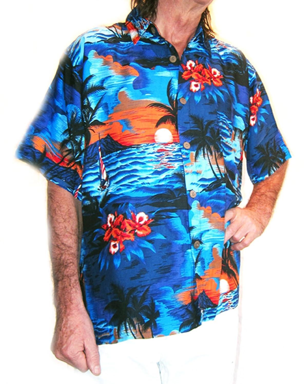 "LOUD Hawaiian shirt blue with palms// orange sunsets XL stag night 54/"" new"