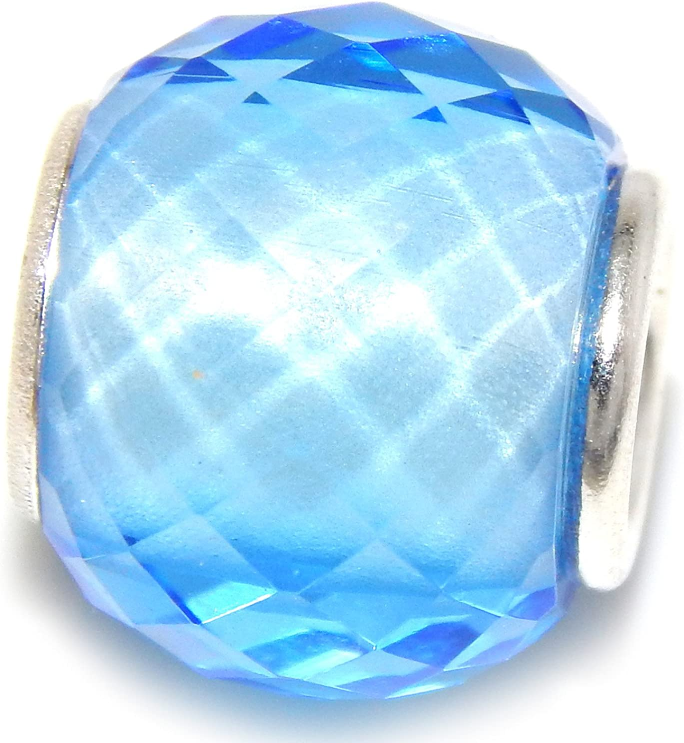Solid 925 Sterling Silver Light Blue Faceted Charm Bead 3003 for European Snake Chain Bracelets
